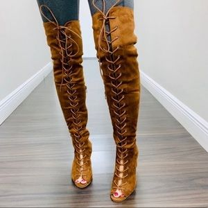 CAMEL SUEDE OVER KNEE LACE UP BOOTS